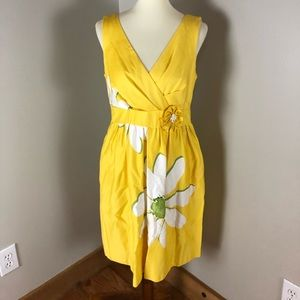 Size 12 Knee Waist Accent Yellow Floral Dress